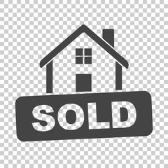 House with sold sign. Flat vector illustration on isolated background