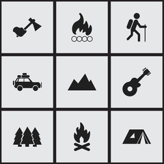 Set Of 9 Editable Camping Icons. Includes Symbols Such As Gait, Peak, Blaze And More. Can Be Used For Web, Mobile, UI And Infographic Design.