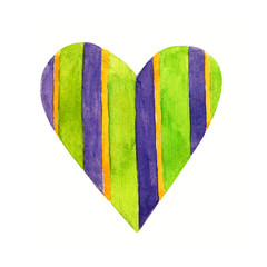 Lovely Cartoon Watercolor love heart valentines pattern. Colorful green heart in violet striped illustrations isolated on white background. Perfect for valentines holiday. Good for love card