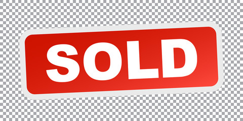 SOLD red stamp. Flat vector icon