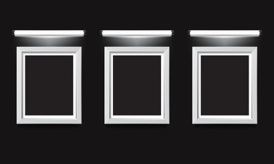 Blank illuminated picture frame on black background. Vector template for your presentations.