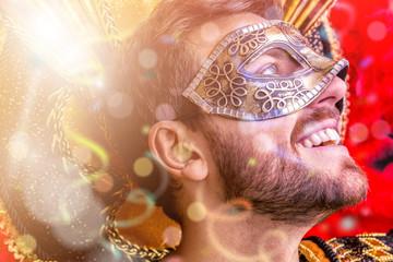 Brazilian guy wearing carnival costume