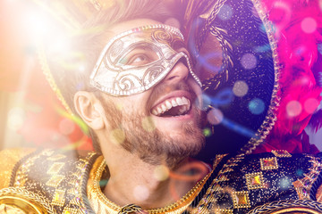 Brazilian guy wearing carnival costume