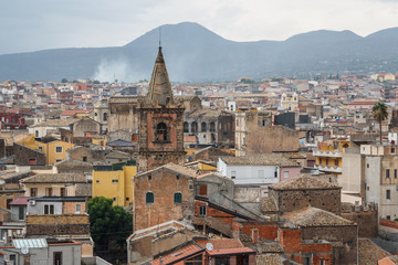 A view over old town of Adrano in the rainy weather, Sicily isla