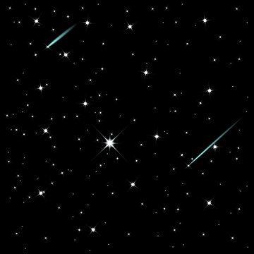 Shooting stars on a dark starry sky