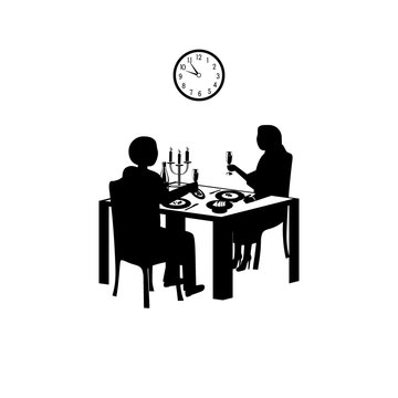 Time for a romantic dinner in black and white