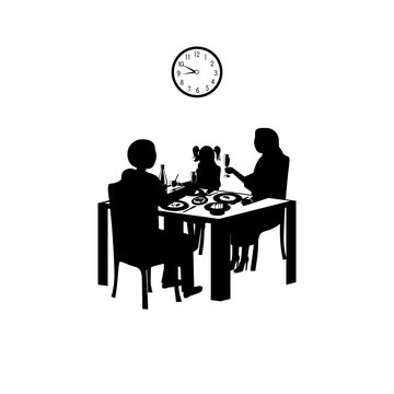 Time for a family dinner in black and white