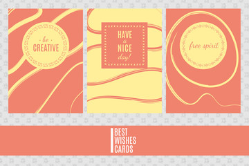 Colorful three vector cards templates. Best wishes cards.