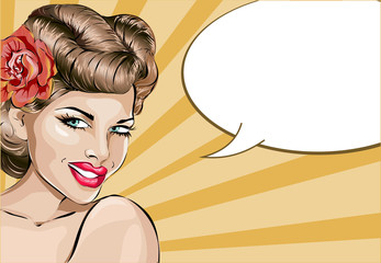 Pin up sexy woman portrait with speech bubble. Pop art girl hand drawn vector illustration