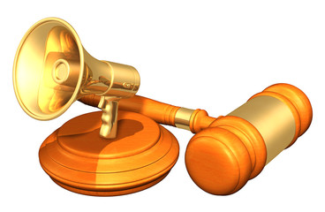 Bullhorn Legal Gavel Concept 3D Illustration