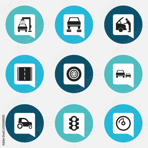 Set Of 9 Editable Vehicle Icons Includes Symbols Such As Speed