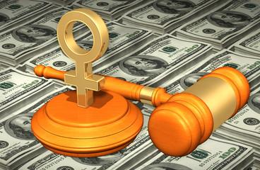 Female Symbol Legal Gavel Concept 3D Illustration