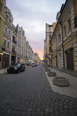 City street with pavement in the evening light. Kiev, Ukraine