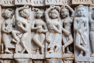 Indian Sculptures of the Jagdish Mandir Temple. Udaipur.
