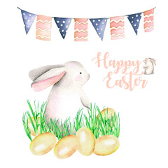 Illustration of watercolor Easter rabbit in grass, bird eggs and festive garland with flags, hand drawn isolated on a white background