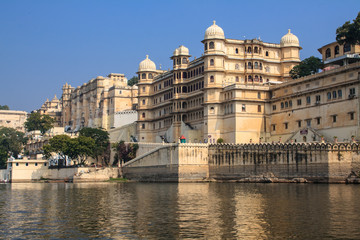 Udaipur city palace on the lake. India