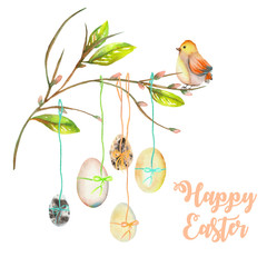 Illustration of Easter eggs on the spring tree branches, hand drawn isolated on a white background