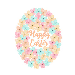 Illustration of Easter egg from tender spring pastel flowers, hand drawn isolated on a white background