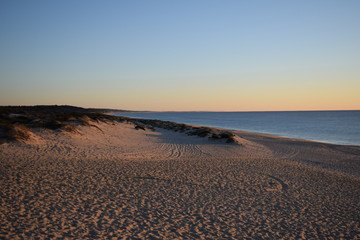 Sandy beach at sunset, Alentejo, Portugal