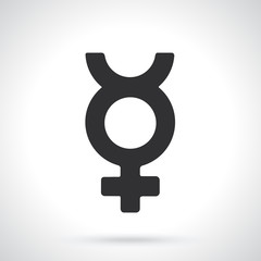 Vector illustration. Silhouette of transgender Mercury symbol. Gender pictogram. Template or pattern. Decoration for greeting cards, wallpapers, emblems