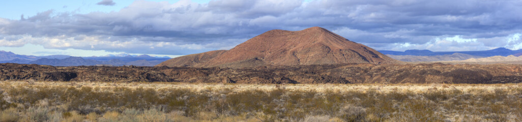 Panoramic Mojave Desert and cinder cone volcano