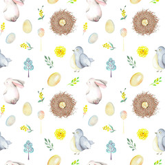 Seamless pattern with watercolor Easter rabbits, bird nests, eggs, birds, yellow and green branches, hand drawn isolated on a white background