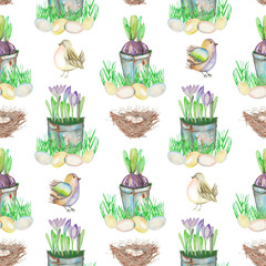 Seamless pattern with watercolor Easter bird eggs, nests, crocus flowers in the pots and cute birds, hand drawn on a white background