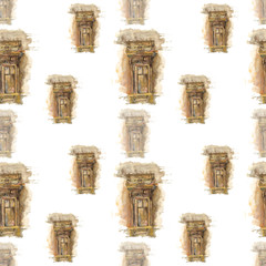 Old window architecture on white background. Seamless watercolor pattern