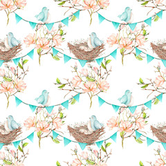 Seamless pattern with birds, nests and eggs on the garlands of the blue flags on spring magnolia tree branches, hand drawn on a white background
