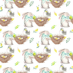 Seamless pattern with watercolor Easter rabbits, nests with bird eggs, yellow and green branches, hand drawn isolated on a white background