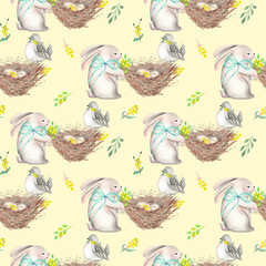 Seamless pattern with watercolor Easter rabbits, nests with bird eggs, yellow and green branches, hand drawn isolated on a tender yellow background