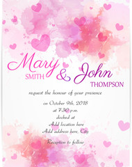 Wedding invitation template with pink hearts