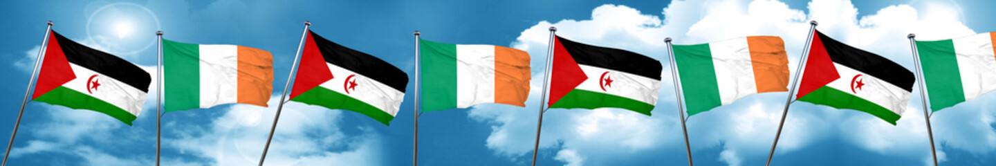 Western sahara flag with Ireland flag, 3D rendering