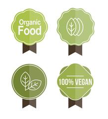 Organic, vegan food badges vector