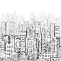 City landmark background. Hand drawn illustration