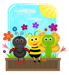Bug Friends - cute butterfly, bee and a ladybug are sitting together on a planter box. Eps10