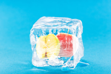 Apple Frozen Inside Ice Cube