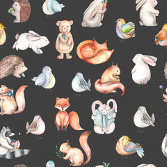 Seamless pattern with watercolor cute forest animals, hand drawn isolated on a dark background