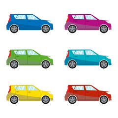 Car set in flat style. Vehicle icons. Colorful vector illustration.