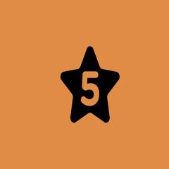 Five Star Hotel Icon Flat Design