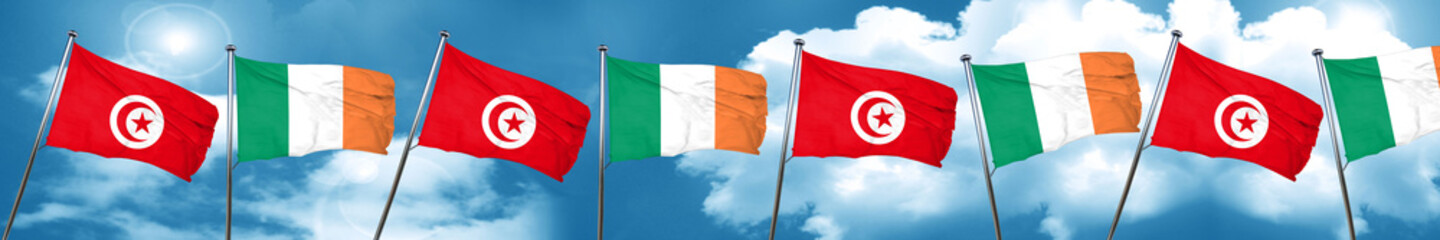 Tunesia flag with Ireland flag, 3D rendering