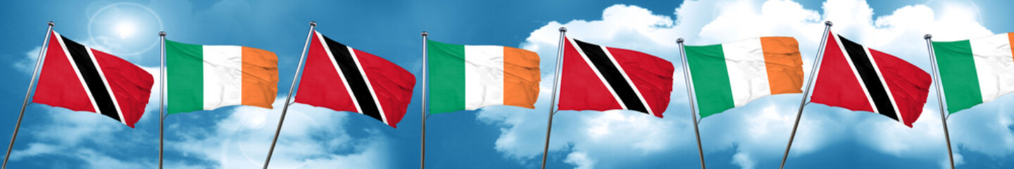 Trinidad and tobago flag with Ireland flag, 3D rendering