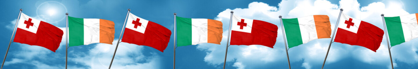 Tonga flag with Ireland flag, 3D rendering