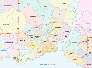 Istanbul city road administrative and political vector map