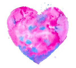 Colorful abstract watercolor stain in shape of heart. Beautiful background for st. Valentine's Day