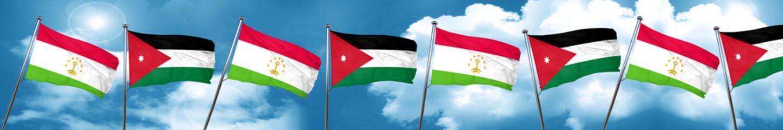 Tajikistan flag with Jordan flag, 3D rendering