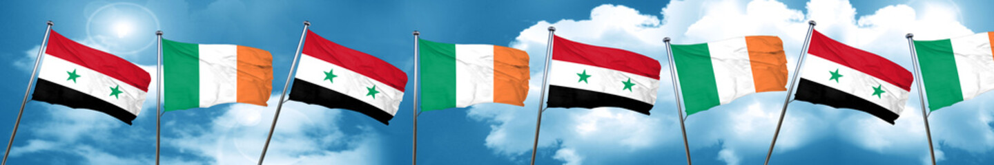 Syria flag with Ireland flag, 3D rendering