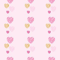 Hand drawn hearts seamless pattern.