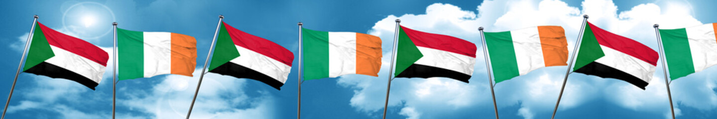 Sudan flag with Ireland flag, 3D rendering