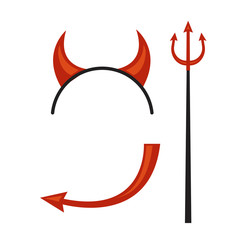 Devil horns, trident, mantle and tail isolated on white background. illustration.